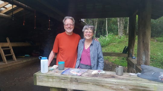 Bob DeBrecht, left, of Asheville, and his sister, Kathy Gallagher, of California, spent a night in the Laurel Shelter in the Great Smoky Mountains National Park earlier this year during the SB6K Hiking Challenge.