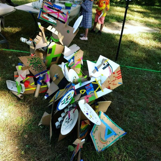 A sculpture made at Art on the Island 2018, an event sponsored by the Madison County Art's Council.