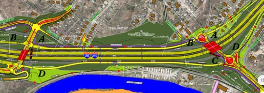 This map shows the state Department of Transportation's plan for the area around Interstate 240 and Amboy Road. Areas in yellow are new travel lanes, those in red are new bridges or other structures and the purple line is a greenway path. Areas in light green are new right-of-way DOT would buy.