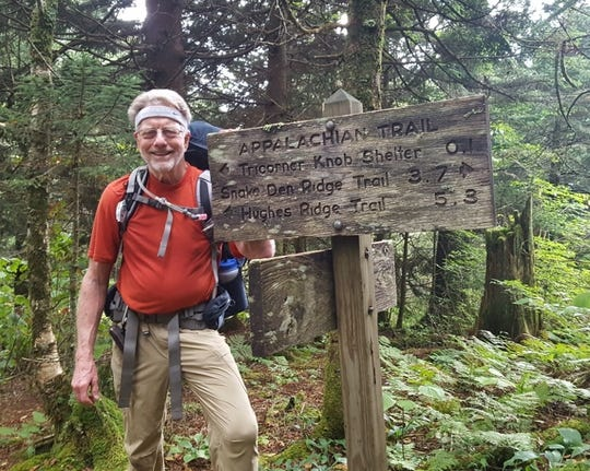 """Bob DeBrecht of Asheville, seen here in Great Smoky Mountains National Park, completed his last four """"peaks above 6,000 feet,"""" in the park in September."""