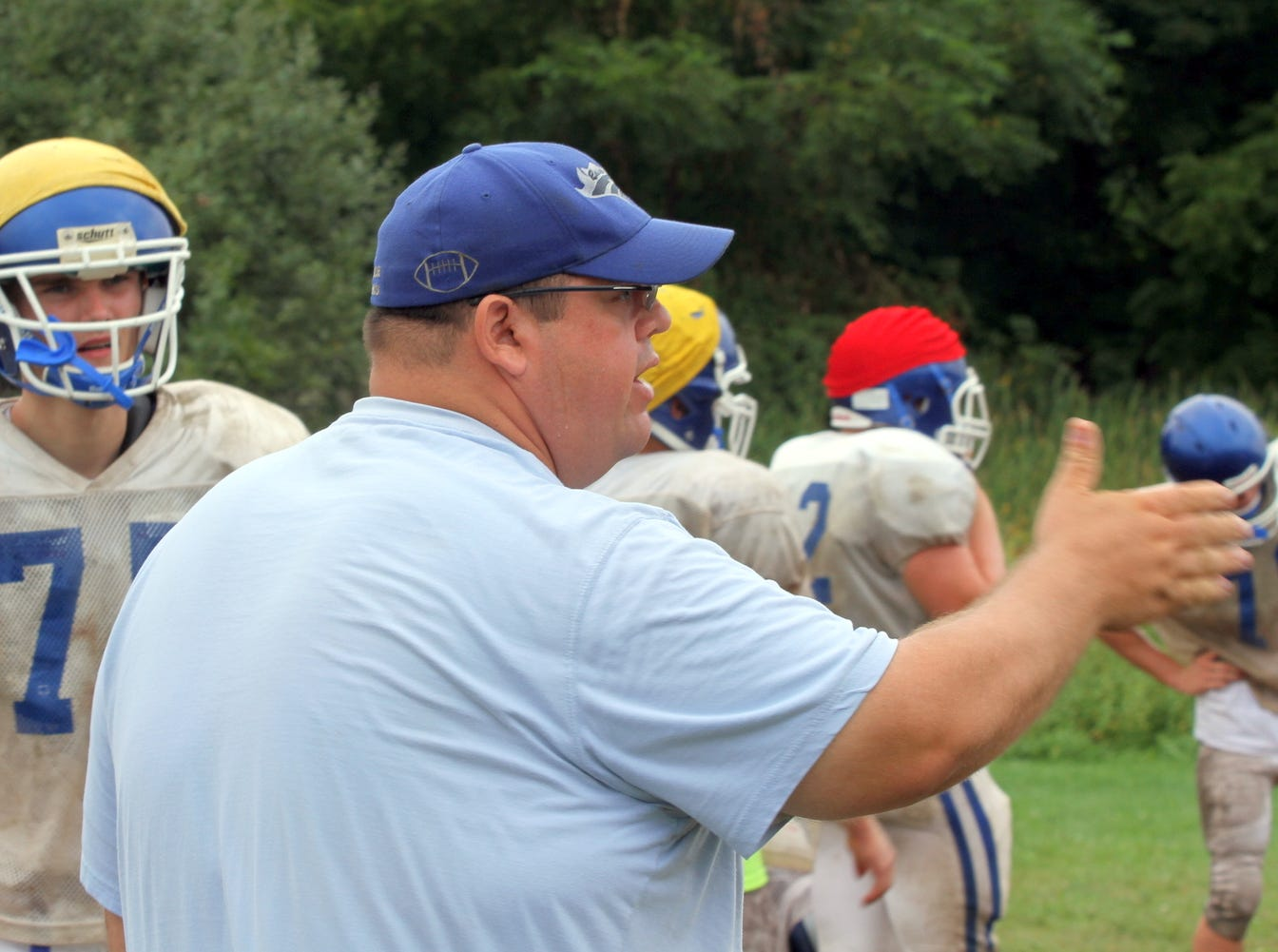 From 2013: Horseheads coach Damian Saks prepares the Blue Raiders for their season opener  today against Windsor.
