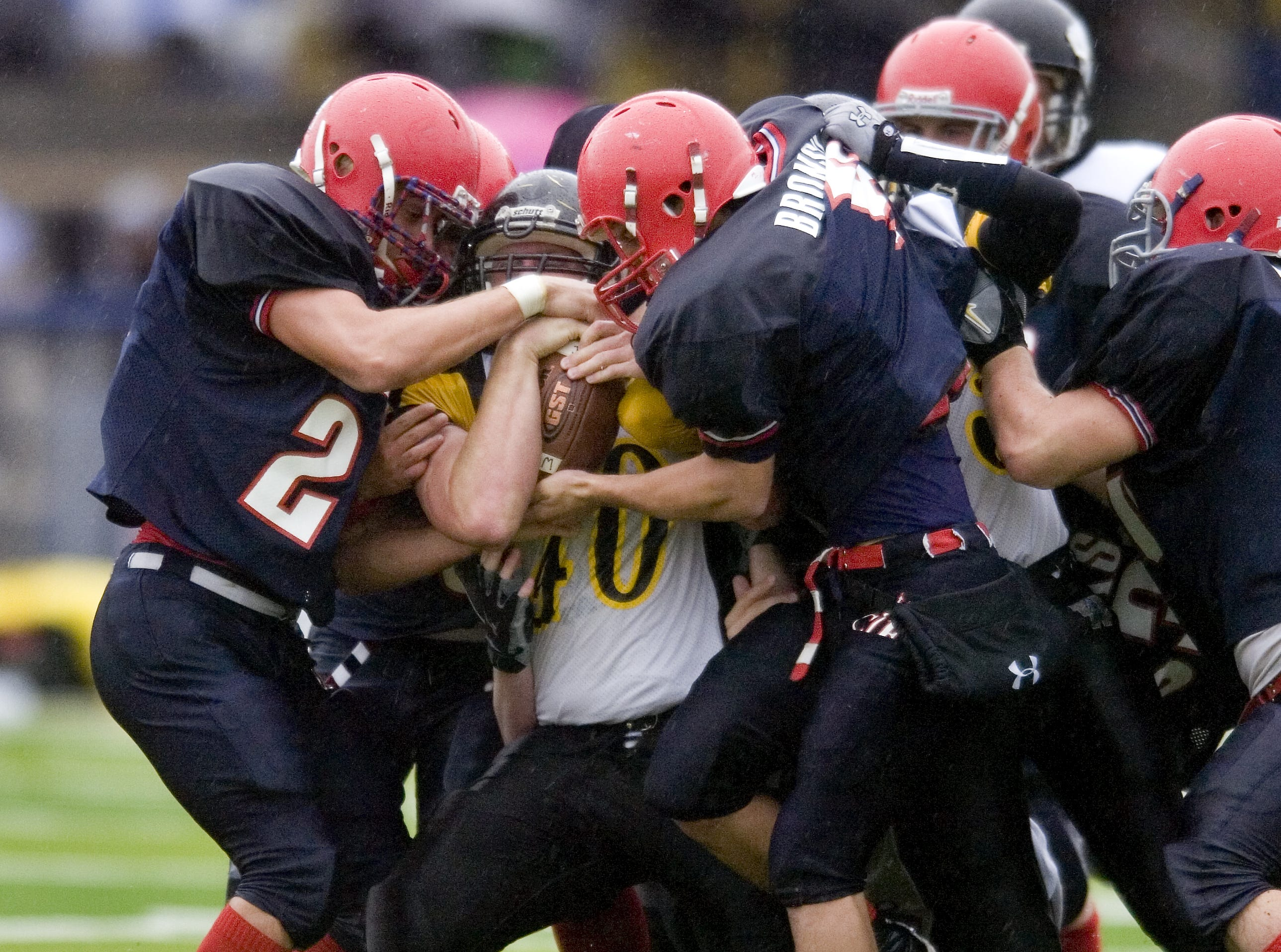 From 2008: Windsor's  Noah Sibley is overwhelmed by Chenango Forks's  defense during the 2nd half of their game Saturday at Chenango Forks. Chenango Forks won 8-0.