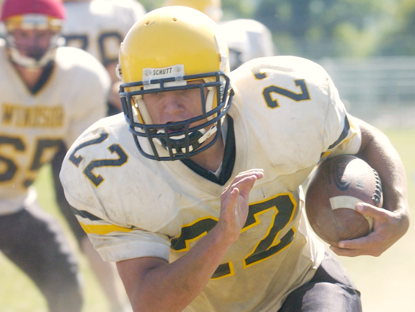From 2006: Windsor Cody Whitman gets yardage during practice.