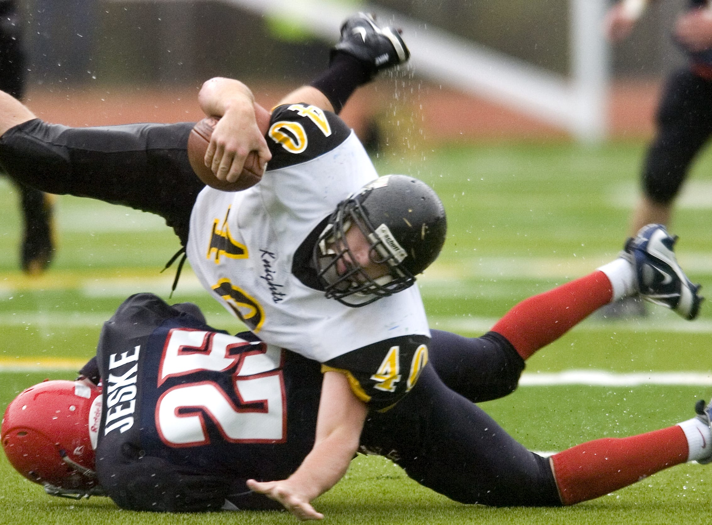 From 2008: Windsor's  Noah Sibley heads down after getting tackle by Chenango Forks's  Mike Jeske during the 2nd half of their game Saturday at Chenango Forks. Chenango Forks won 8-0.