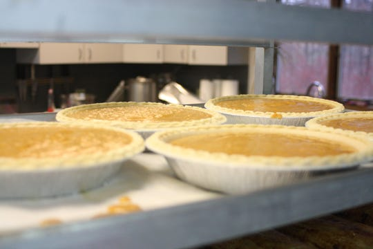 Pumpkin pie awaits the oven in the kitchen of the Rohr Chabad Center for Jewish Student Life in Vestal on Nov. 30.