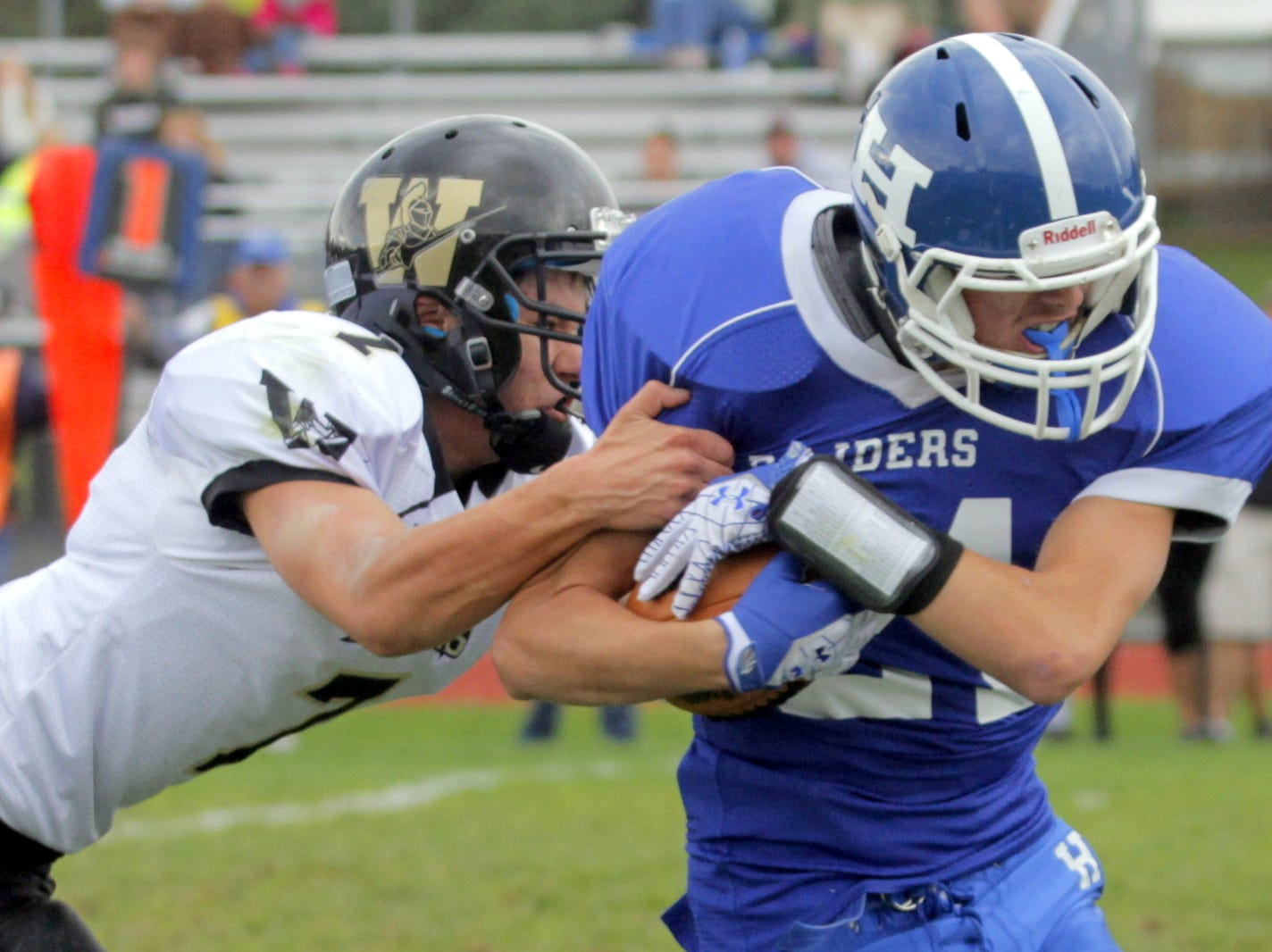 From 2012: Windsor's Josh Cady tries to tackle Horseheads? Evan Stiles on Saturday. Host Horseheads won, 43-19.