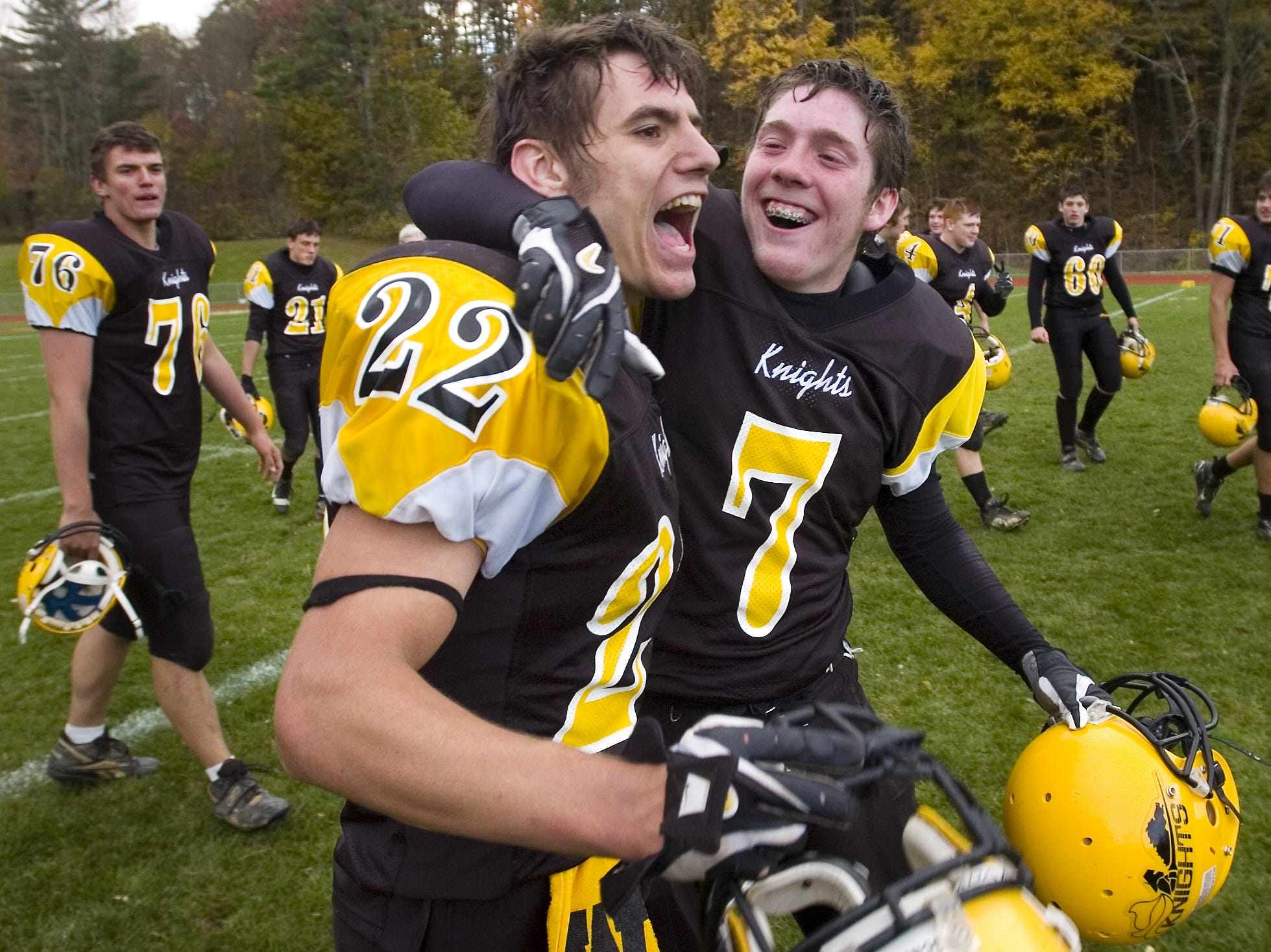 From 2006: Windsor's Cody Whitman, left and Tim Costello celebrate their win over Chenango Valley, 15-14 Saturday.