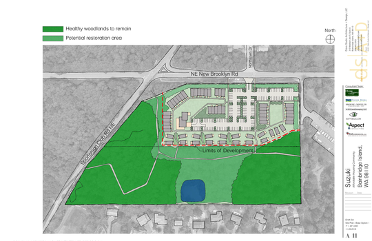 An illustration shows a potential view of how the Suzuki property on New Brooklyn Road could be developed.
