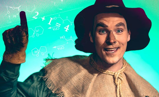 """Scarecrow (Shane Patrick Hoffmann) hunts for a brain in """"The Wizard of Oz."""""""