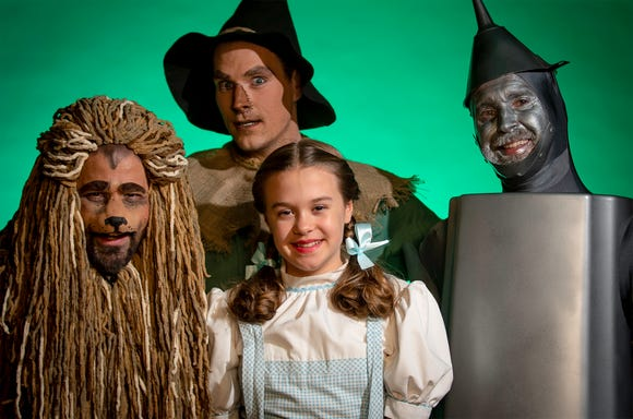 From left, the Cowardly Lion (Matty McCaslin), Scarecrow (Shane Patrick Hoffmann), Dorothy (Emily Fox) and Tinman (Jon Payne).