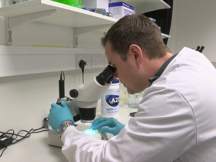 Principal Investigator, Tim Etheridge, studies C. elegan worms which will be flown on Dec. 4 to the International Space Station onboard SpaceX's Dragon cargo mission to study spaceflight-induced muscle loss.