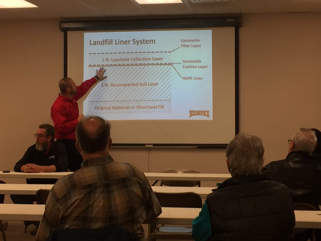 David Murphy, area site senior engineer for Rumpke, explains the structure of a landfill to concerned residents.