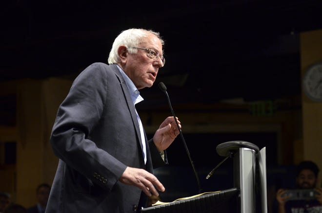"""Sen. Bernie Sanders, I-Vt., gives the keynote address at The Sanders Institute Gathering Thursday, Nov. 29, 2018, in Burlington. The Gathering is billed as a meeting of  """"250 leading progressive minds to envision – and to actualize – a better future for our country and the world,' organized by the institute co-founded by Sanders' wife, Jane O'Meara Sanders."""