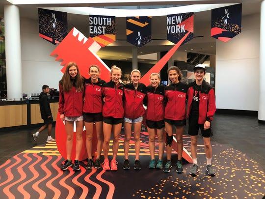 The CVU girls cross-country team poses at Nike headquarters in Beaverton, Oregon, on Thursday.