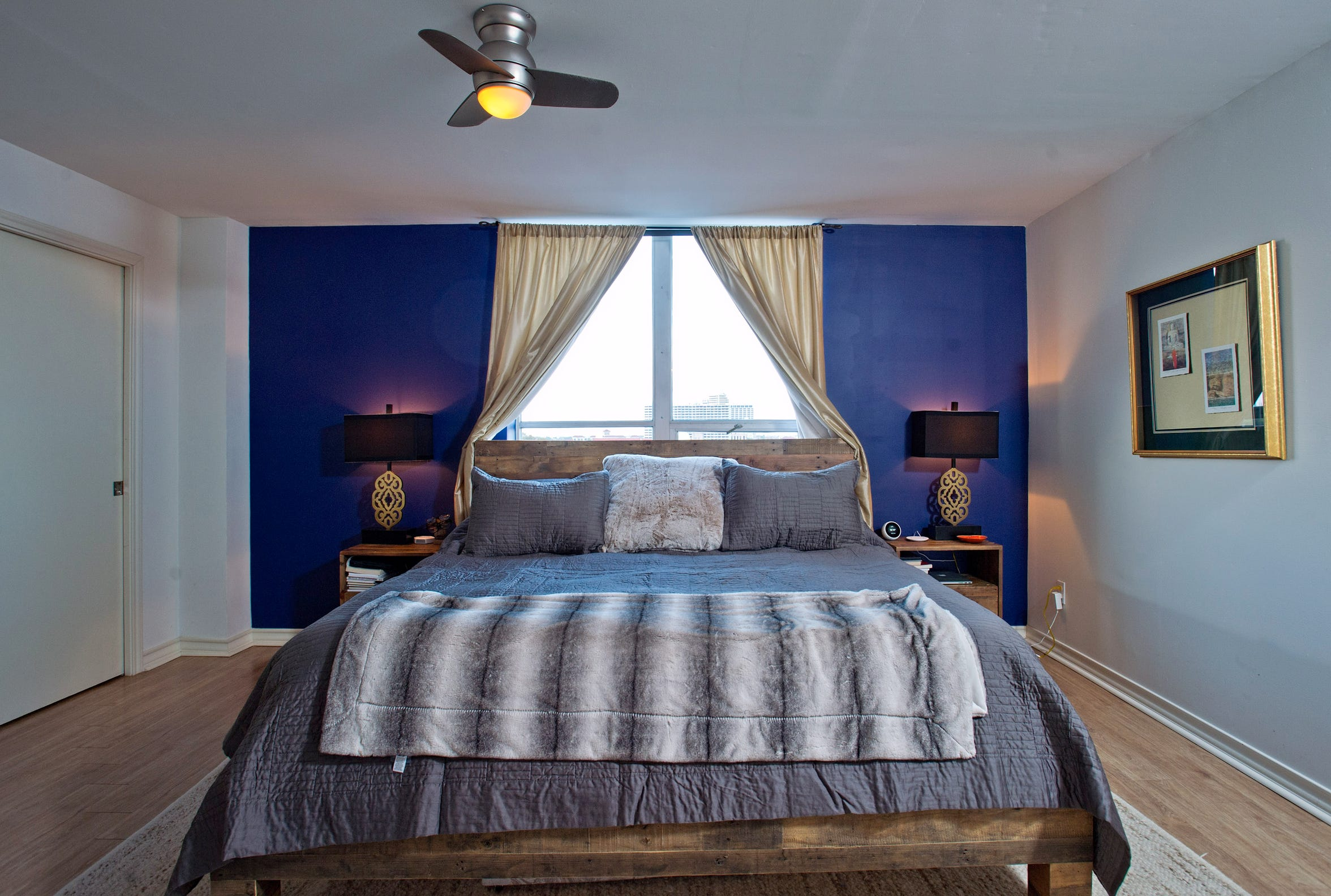 The master bedroom has two walk-in his and her closets.