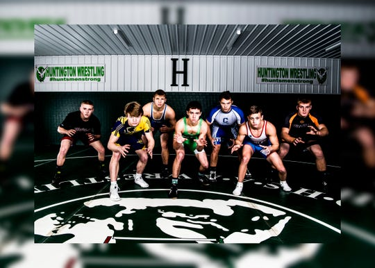 Wrestlers to watch during this year's 2018-2019 wrestling season include (L-R) Westfall's Scott Mulkey, Unioto's Ashten Moody, Southeastern's Andrew Moore, Huntington's Cody Thomas, Chillicothe's Nick Erslan, Zane Trace's Jordan Hoselton, and Waverly's Isaac Heigley. Adena High School and Paint Valley High School were not able to attend.
