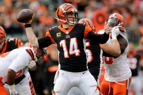Cincinnati Bengals quarterback Andy Dalton (14) throws during an NFL Week 12 football game against the Cleveland Browns, Sunday, Nov. 25, 2018, at Paul Brown Stadium in Cincinnati.