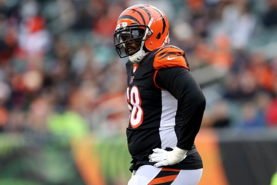 Cincinnati Bengals offensive tackle Bobby Hart (68) rests his hands on his hips after a penalty is called during an NFL Week 12 football game Cleveland Browns, Sunday, Nov. 25, 2018, at Paul Brown Stadium in Cincinnati. Cleveland Browns won 35-20.