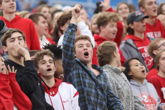 Beechwood fans cheer in the Tigers during their championship game against Pikeville, Friday Nov. 30, 2018.