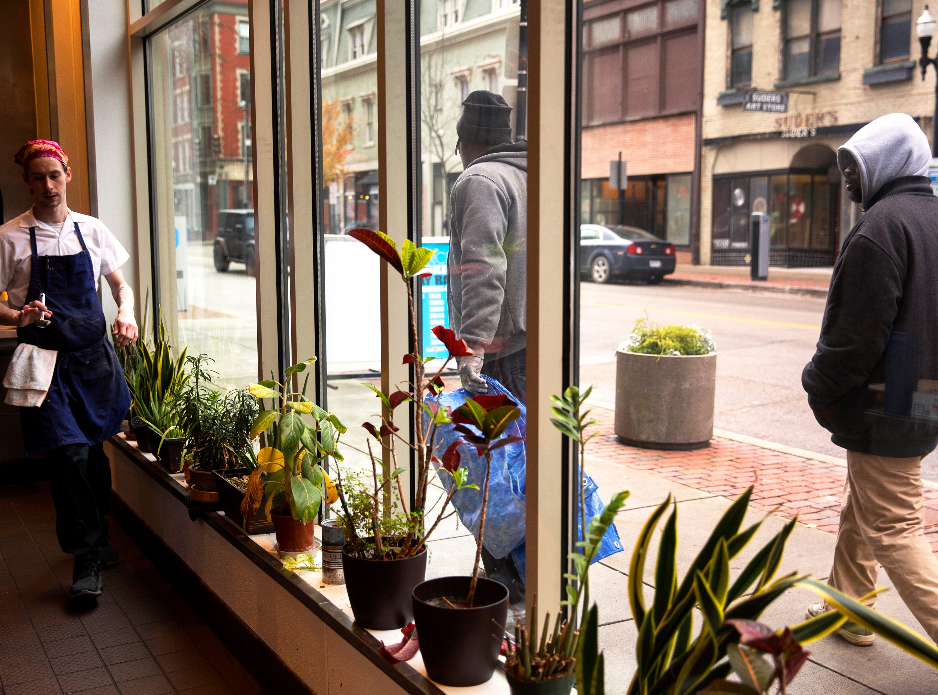 The big picture windows at The Mercer on Vine Street in Over-the-Rhine allow the world to look in at the action. The restaurant  has been serving Italian-Eureopen food since 2014. The owner, Jon Zipperstein, also owns Kaze, just up the block and Embers in Madeira. Emmy Friedrichs is the manager.
