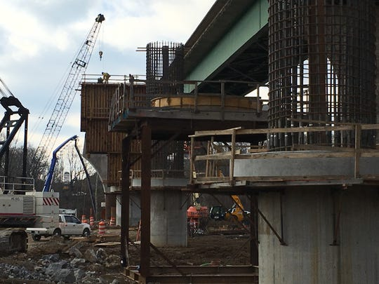 Support piers for a new span of McClure Bridge are taking shape.