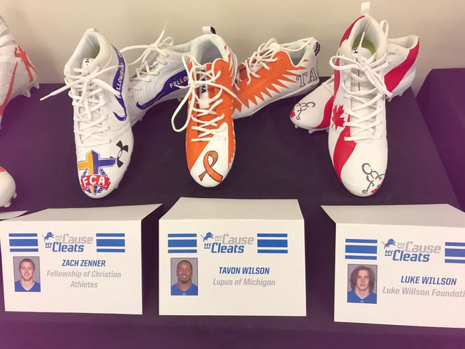 "Detroit Lions players Zach Zenner, Tavon Wilson and Luke Willson participate in the NFL's ""My Cause My Cleats"" campaign, in which players around the league raise awareness for charitable causes."