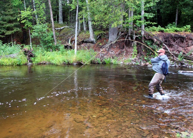 Randy Berndt of Trout Creek, Mich., fishes on a branch of the Ontonagon River in the Upper Peninsula of Michigan in Spring 2016.