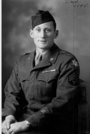 Bill Brown served in the Army in WWII. He is photographed in 1943.