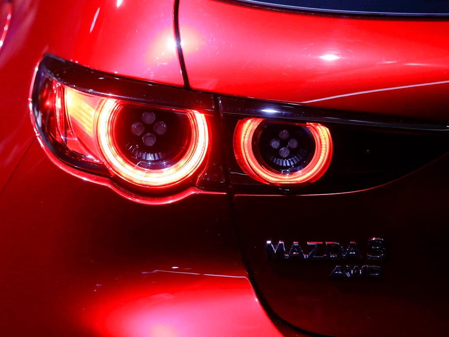 The new tail lights from the Mazda 3 is shown during the Los Angeles Auto Show on Wednesday, Nov. 28, 2018.