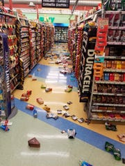This photo provided by David Harper shows merchandise that fell off the shelves during an earthquake at a store in Anchorage, Alaska, on Friday, Nov. 30, 2018.
