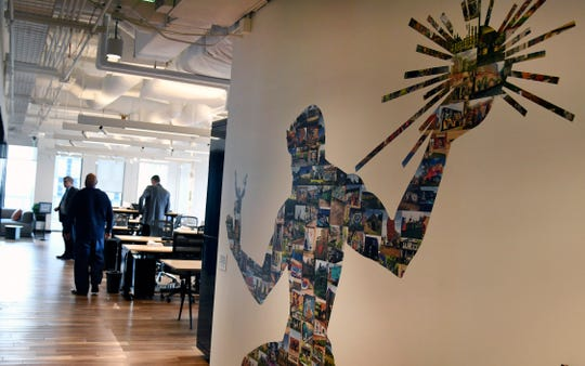 This is a work area inside the new Accenture office in downtown Detroit.