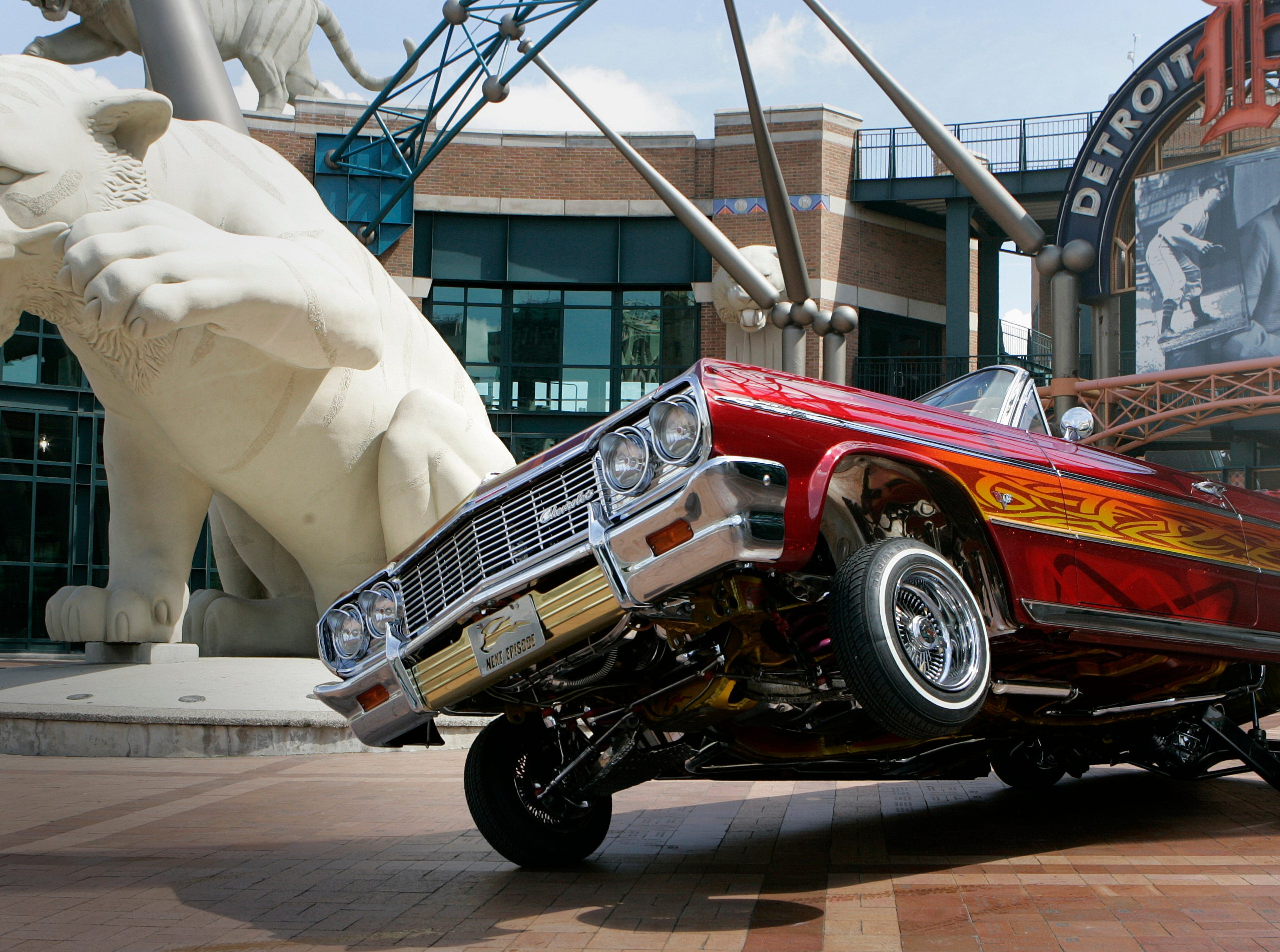 A 1964 Chevy Impala, owned by Thomas Cavataio of Grosse Pointe Woods, outside Comerica Park in Detroit, June 24, 2008.