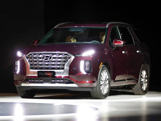 2020 Hyundai Palisade SUVs are introduced at the Los Angeles Auto Show Wednesday, Nov. 28, 2018, in Los Angeles.