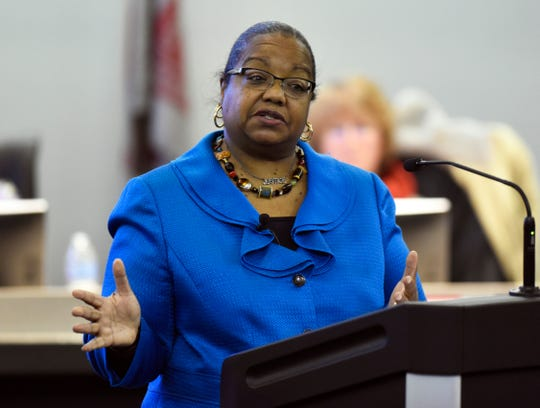 Wayne County Prosecutor Kym Worthy addresses the crowd during a town hall meeting held in the Community Room at Northville Township Hall, Thursday, Nov. 29, 2018 in Northville Township, Mich.  (Jose Juarez/Special to Detroit News)