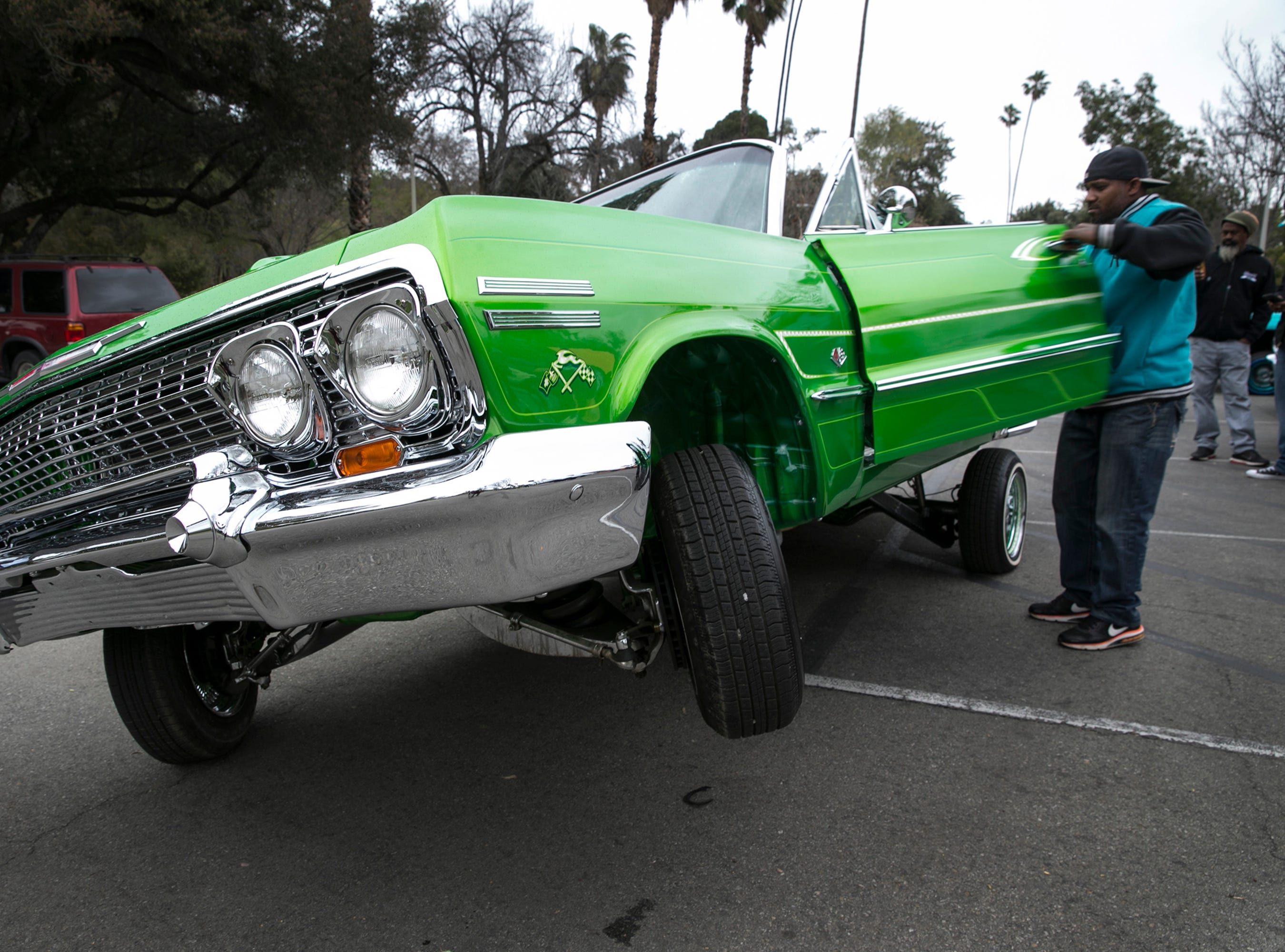 A modified 1963 Chevy Impala during the Ultimate Riders Car Club at Fairmount Park  in Riverside, Calif, March 5, 2017