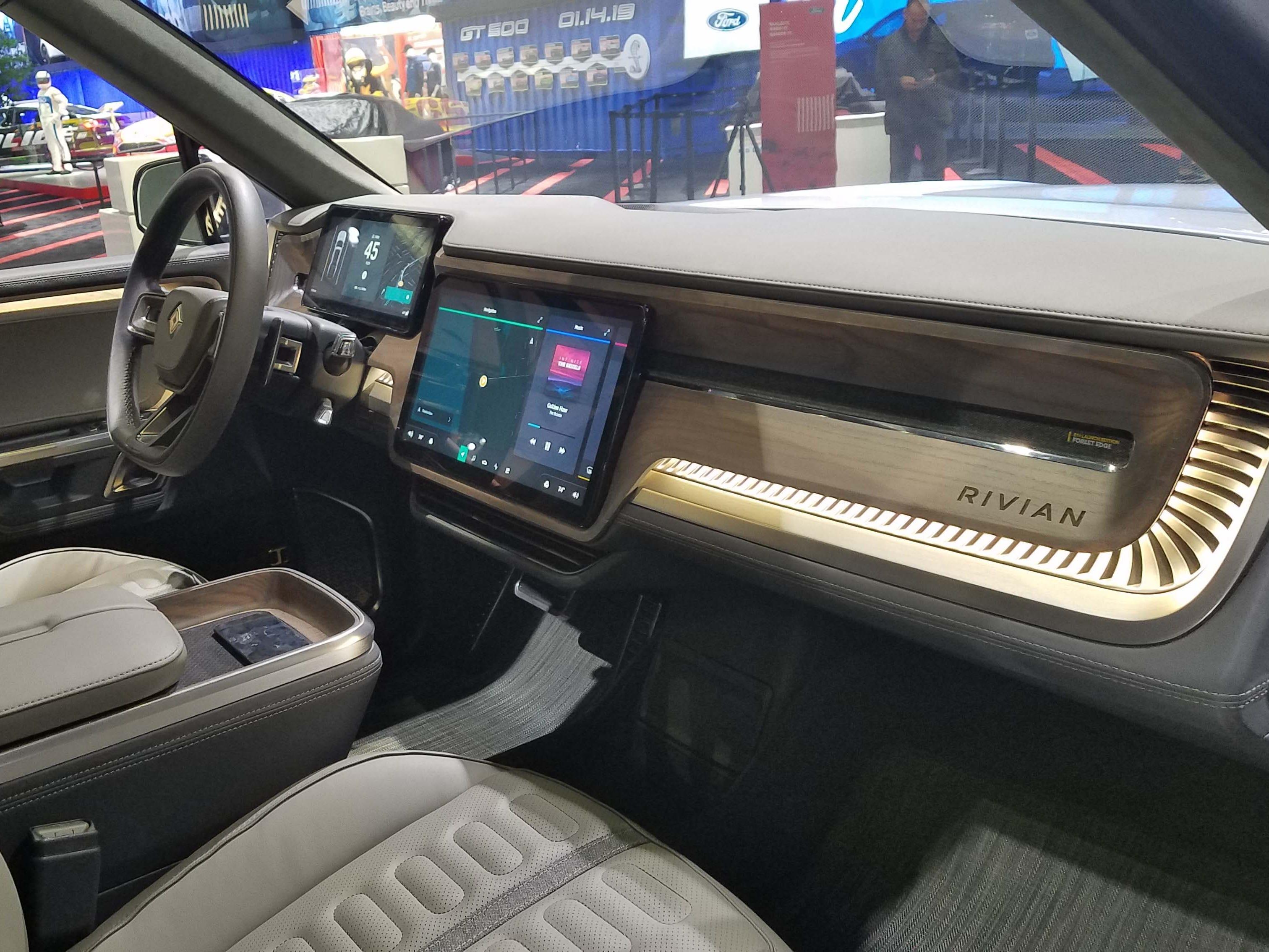 The Rivian pickup EV sports a Tesla-like interior.