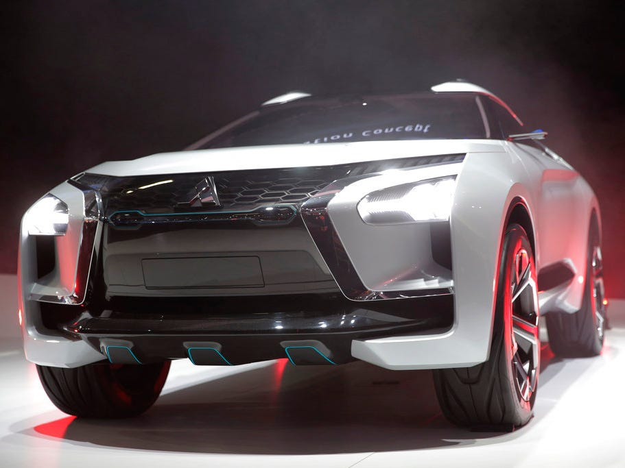 The Mitsubishi e-Evolution concept is unveiled at the Los Angeles Auto Show Wednesday, Nov. 28, 2018.