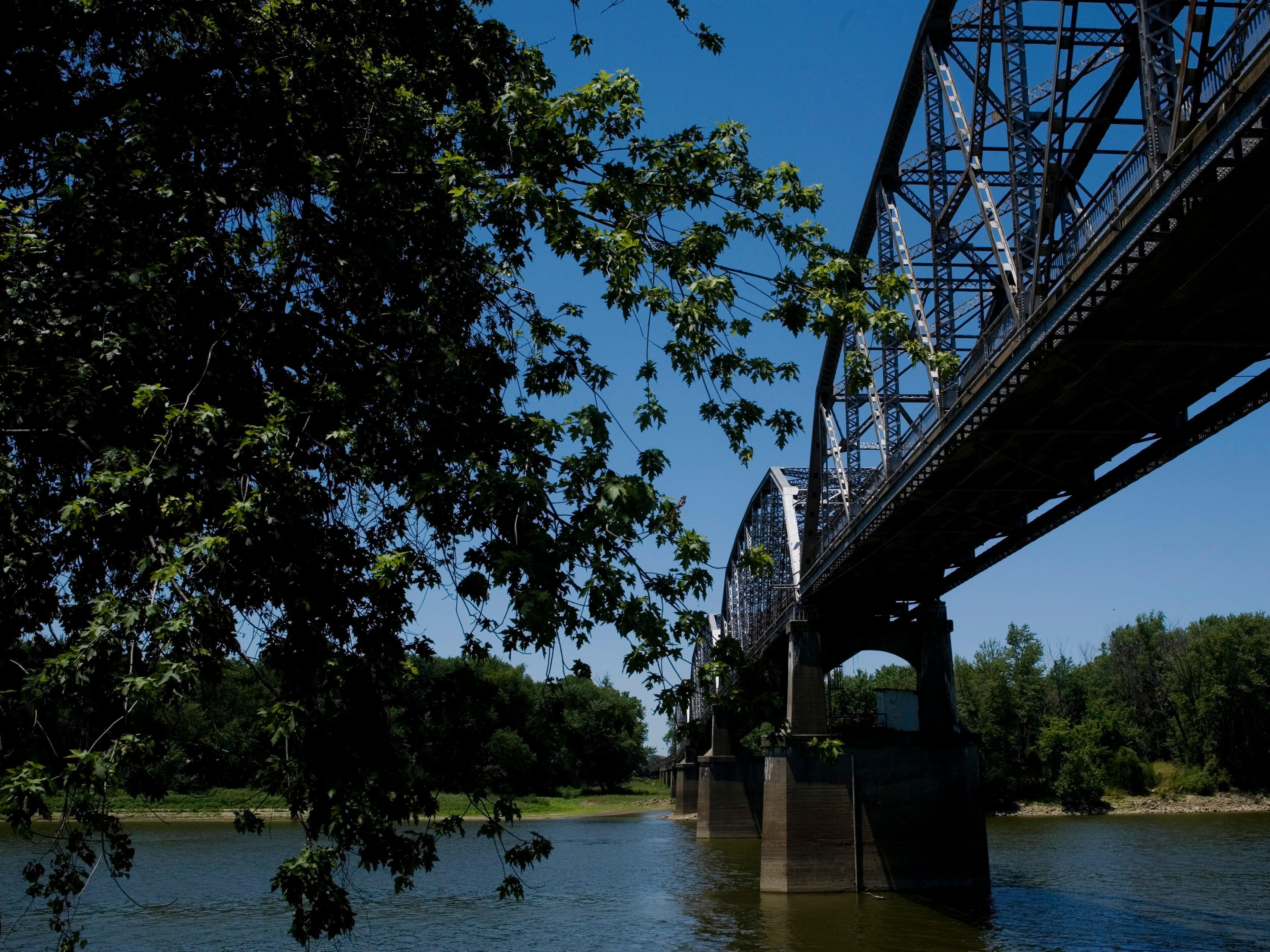 Shut down in May of this year, the Harmony Way Bridge which links New Harmony, Ind., with White County, Ill., as it crosses the Wabash River only serves nesting swallows, wasps and pigeons these days.