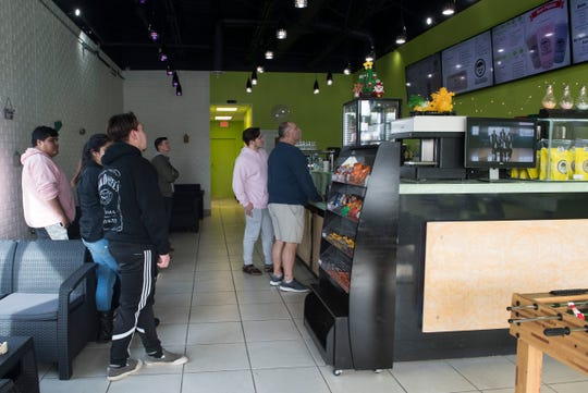 Customer wait in line at Mr. Bubble Tea on Saturday, Nov. 17, 2018.