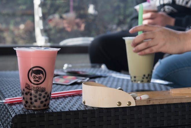 Strawberry milk tea sits on a table waiting to be enjoyed at Mr. Bubble Tea Saturday, Nov. 17, 2018.