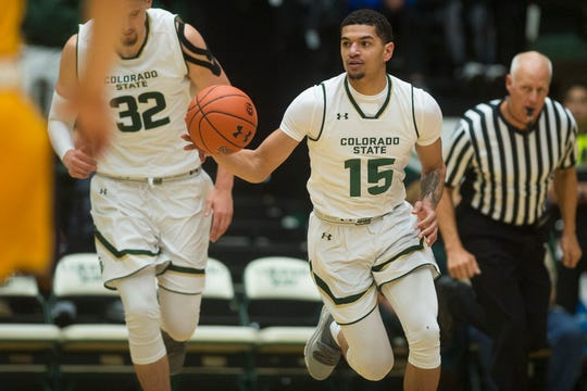 Colorado State University junior guard Anthony Masinton-Bonner (15) drives down-court during a game against Colorado Christian University on Wednesday, Nov. 7, 2018, at Moby Arena in Fort Collins, Colo.