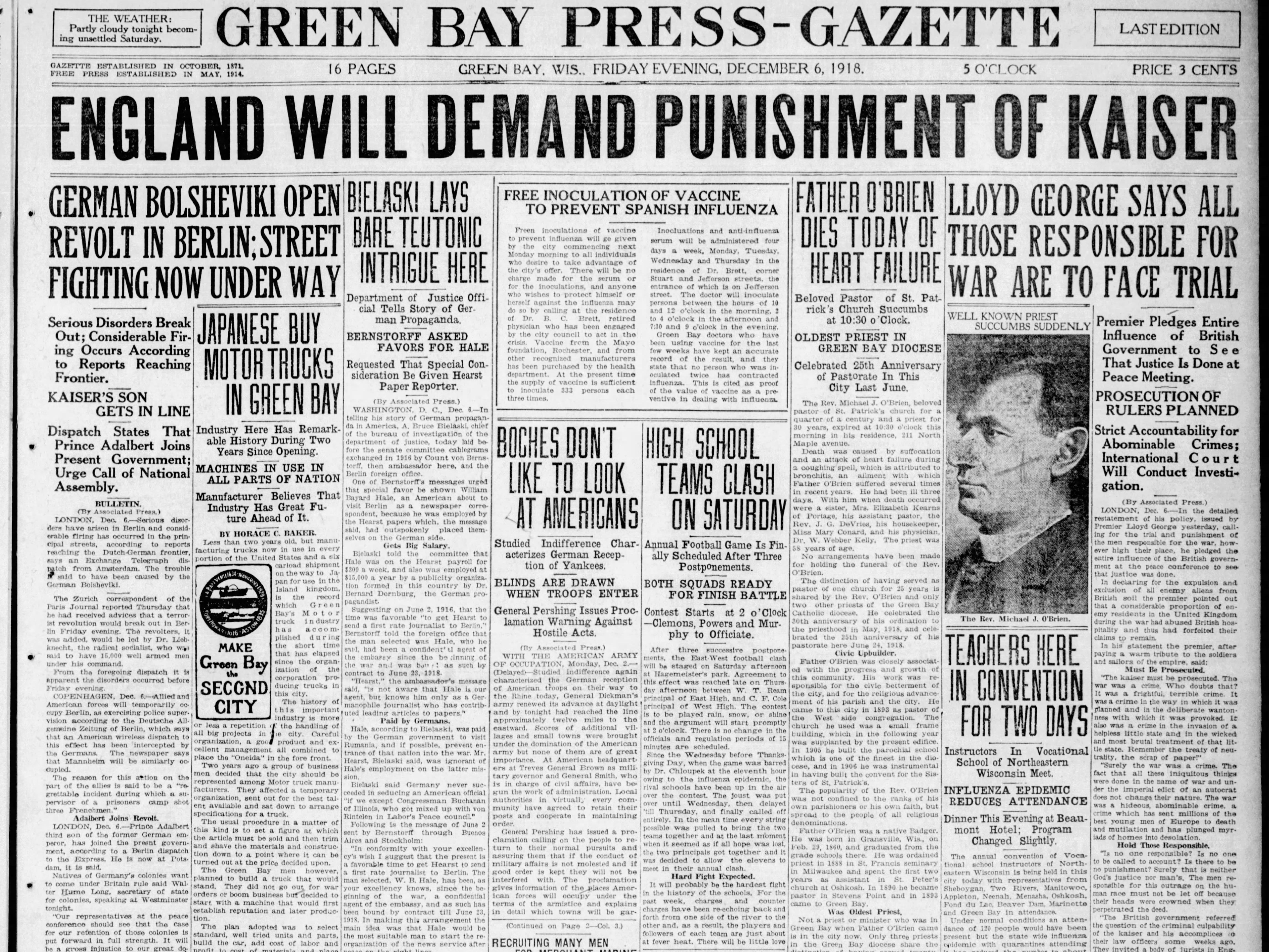 Today in History:  Dec. 6, 1918