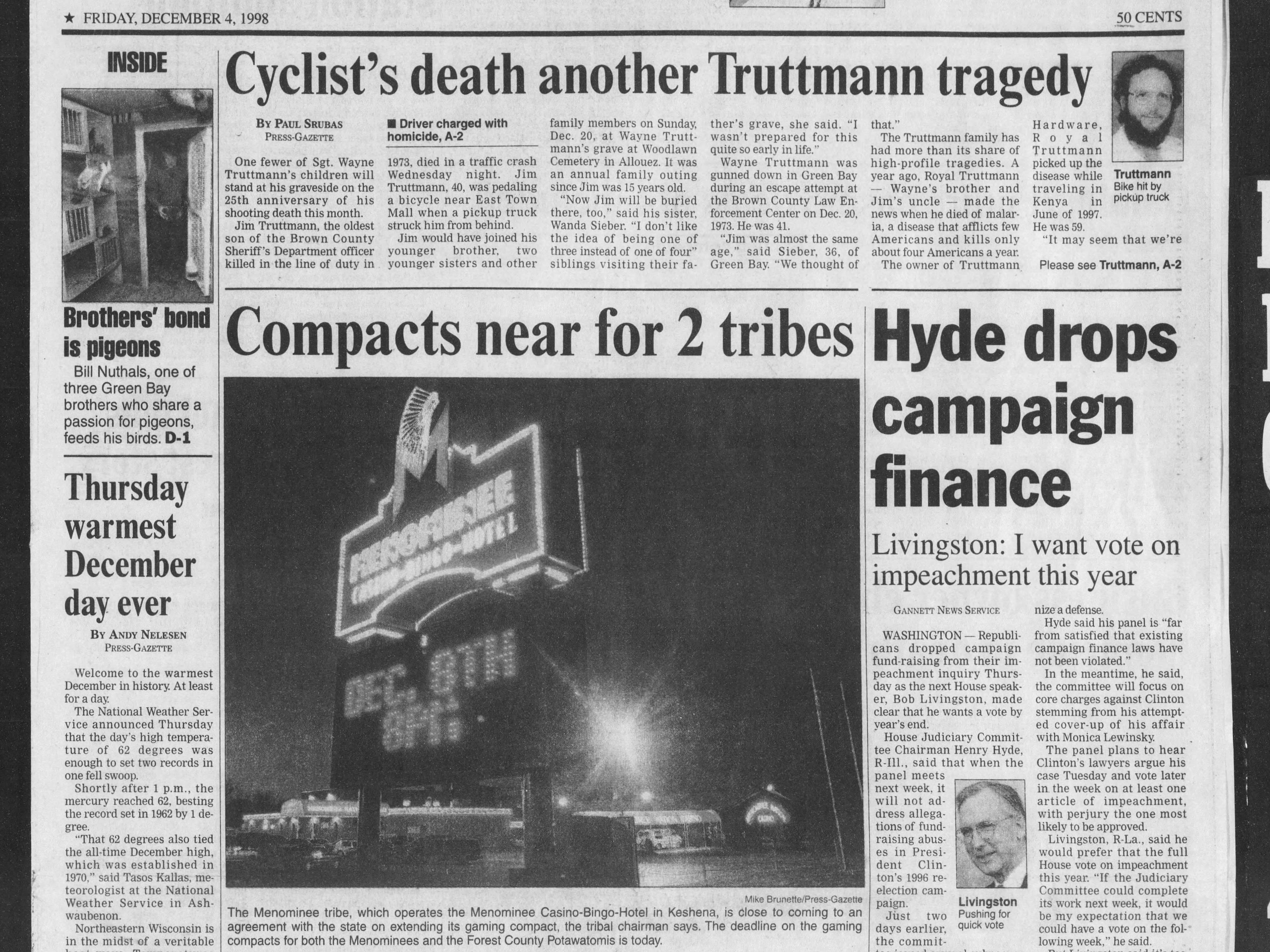 Today in History: Dec. 4, 1998