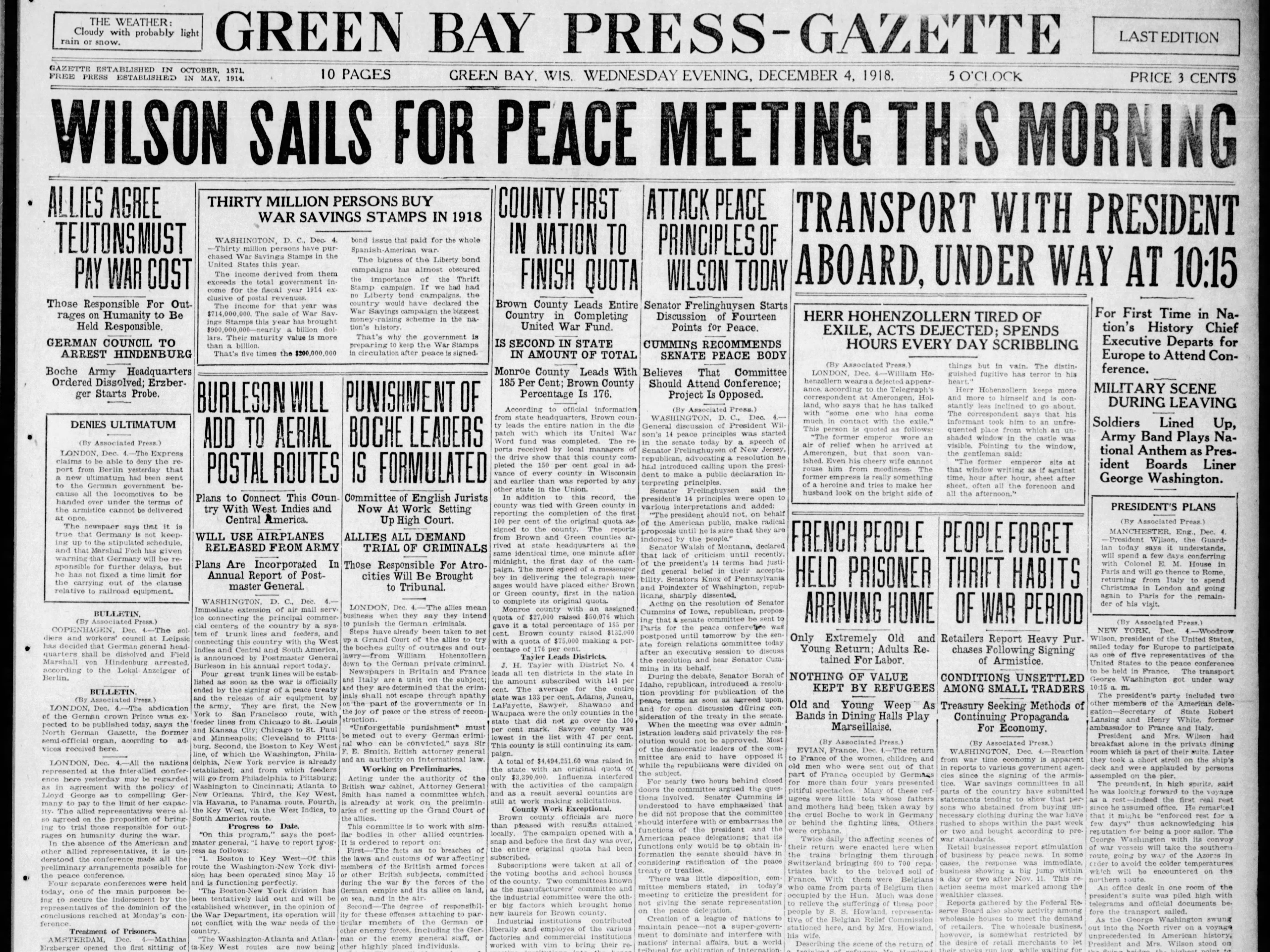 Today in History: Dec. 4, 1918