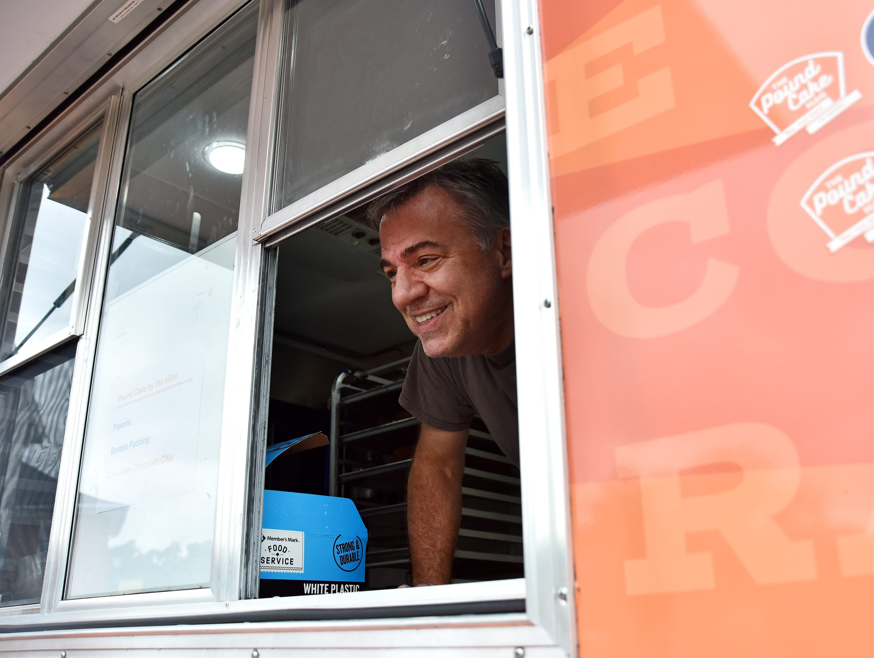 Jeff Bennett takes orders while operating his food truck at Anderson University.