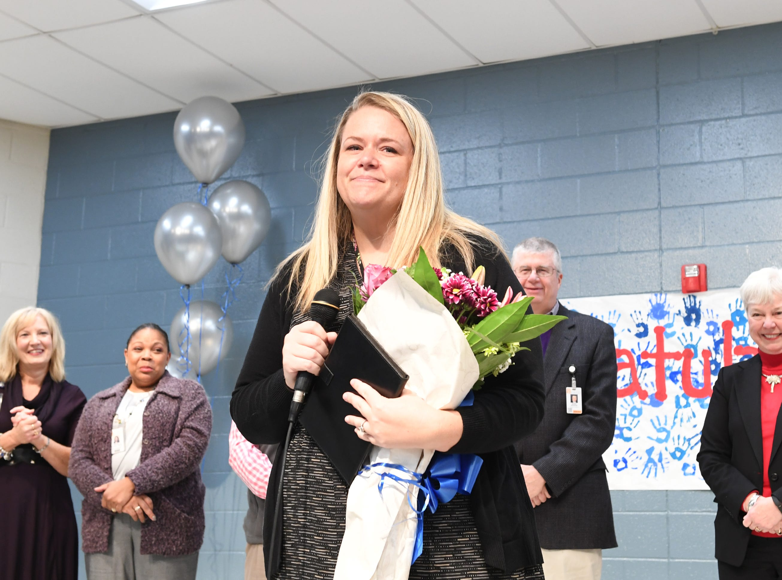 Simpsonville Elementary School Assistant Principal Leah Stafford is named the 2019 SC Elementary Assistant Principal of the Year, Friday, Nov. 30, 2018.