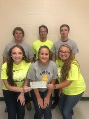 Pictured above are the Union County chapter officers wearing Becks sponsored shirts and holding the check that Becks donated to our chapter.  Top row from left to right: Avery Welden, Mason Welden, and Kyle Shirel  Bottom row left to right: Mallory White, Emma Greenwell, and McKayla Robinson.