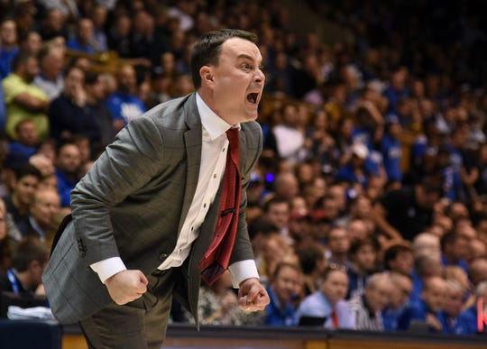 Hoosiers coach Archie Miller reacts during the first half against the Duke Blue Devils at Cameron Indoor Stadium.