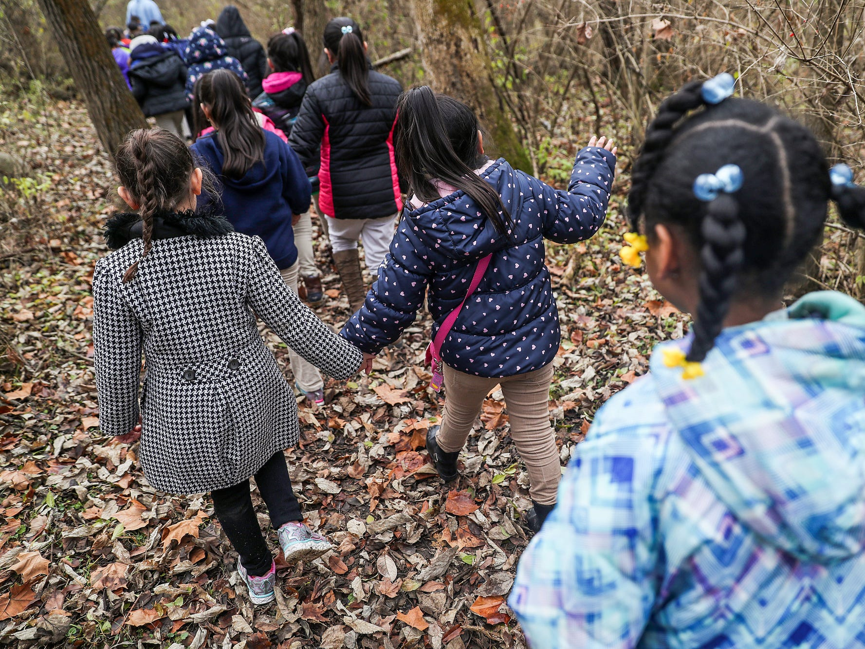Second graders from Global Preparatory Academy take a hike through the woods on their field trip to Jameson Camp in Indianapolis, Friday, Nov. 30, 2018.