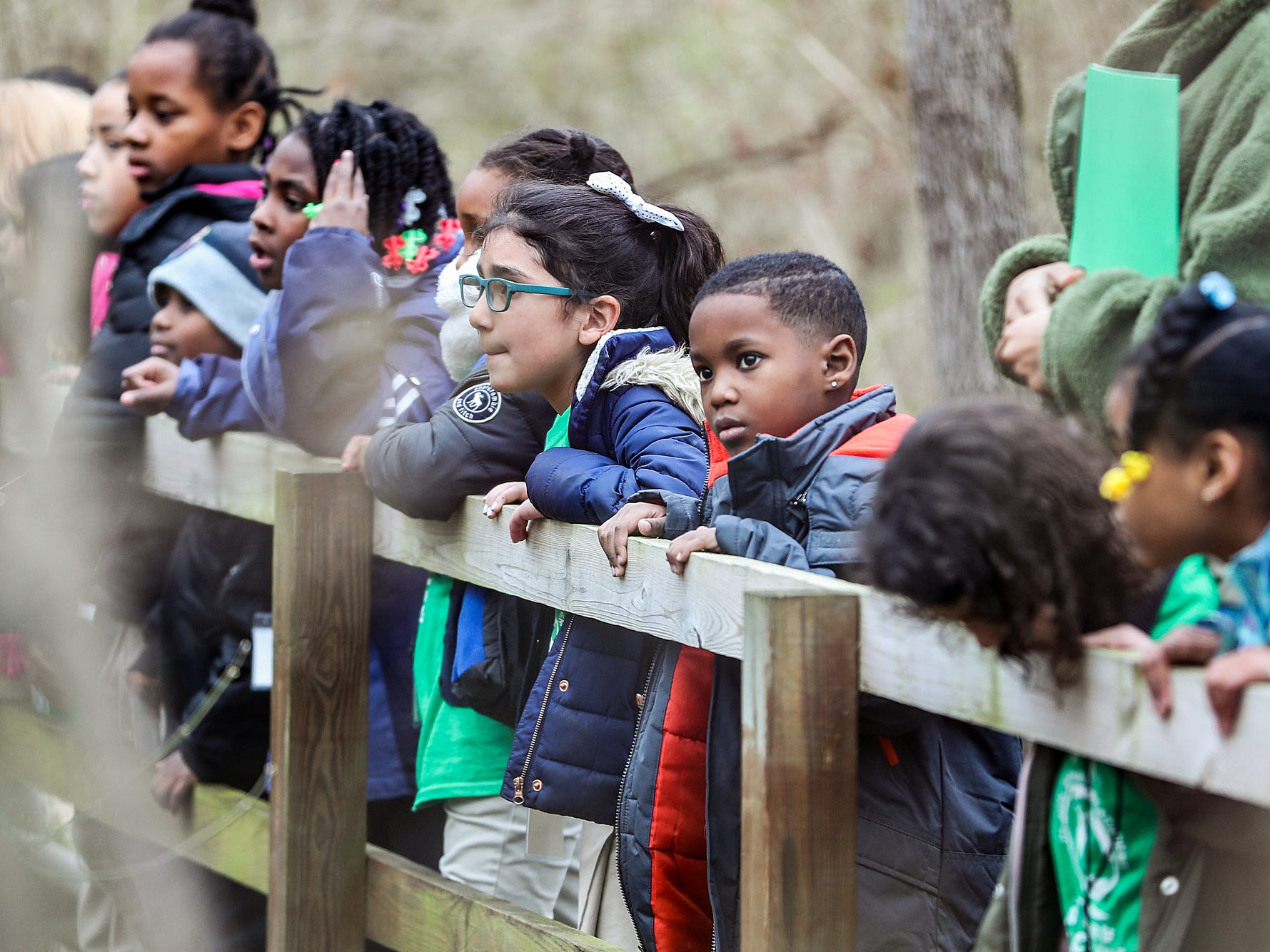 Second grade students from Global Preparatory Academy explore nature on a field trip to Jameson Camp in Indianapolis, Friday, Nov. 30, 2018.